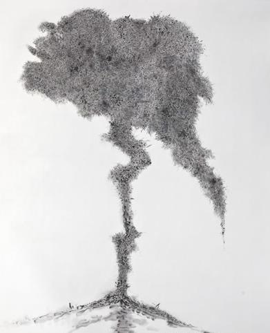 丙烯风景画黑白